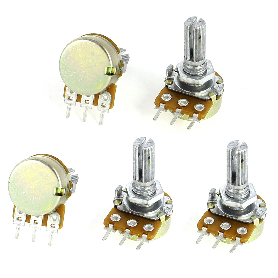 5 Pcs B1M Type B 1M Ohm 3 Pin Terminals Single Linear Rotary Taper Potentiometers