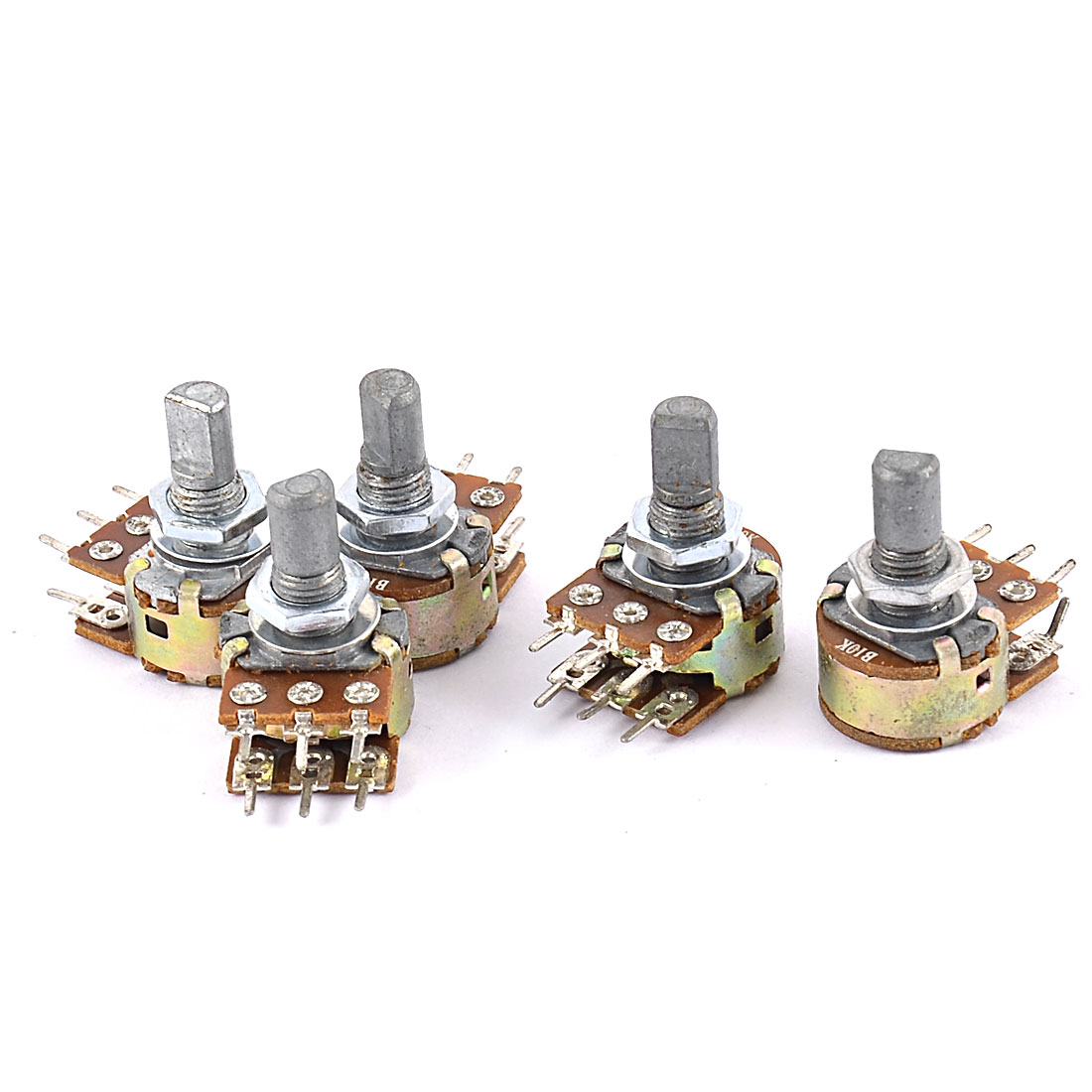 5 Pcs B10K 10K Ohm 6 Terminals Dual Linear Rotary Taper Potentiometers