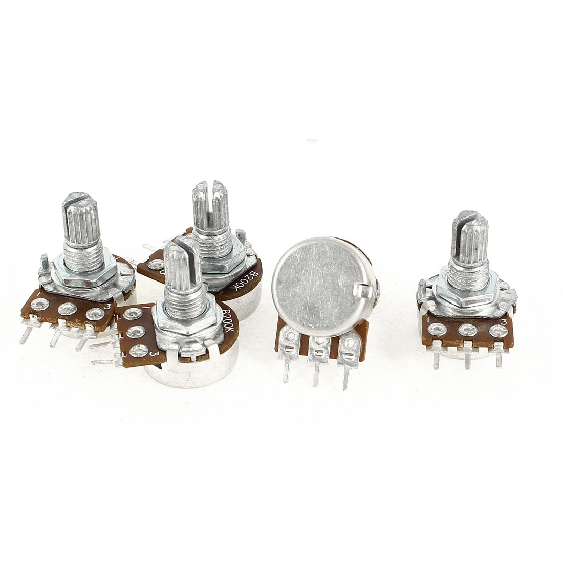 5 Pcs B200K 200K Ohm Metal Rotating Shaft 3 Terminals Rotary Single Linear Taper Potentiometers
