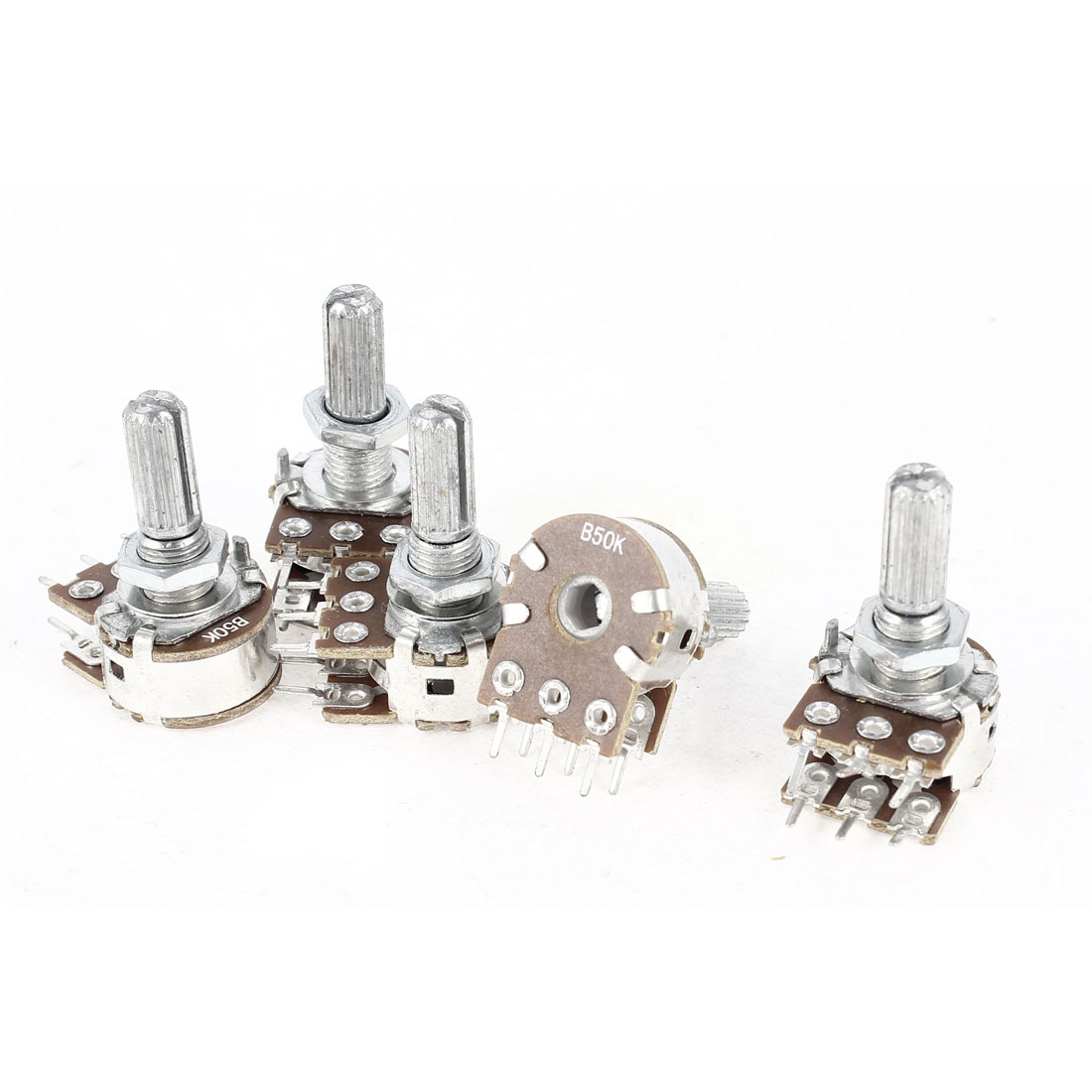 5 Pieces B50K Type B 50K Ohm 6 Terminals Dual Linear Rotary Taper Potentiometers