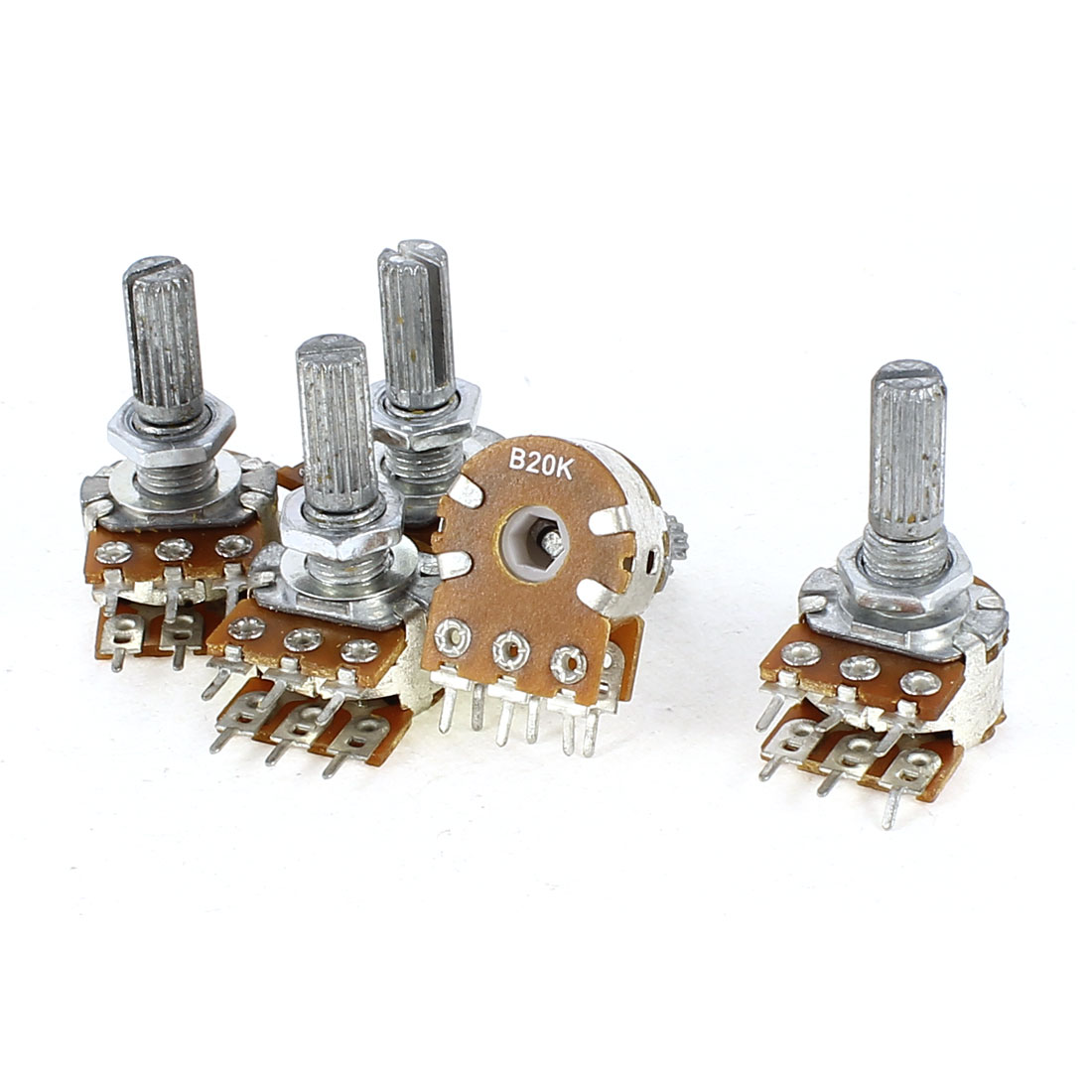 5 Pieces B20K Type B 20K Ohm 6 Terminal Double Linear Rotary Taper Potentiometer
