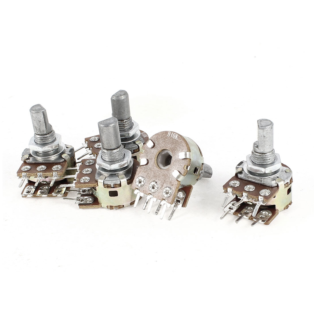 5 Pieces Type B 10K Ohm 6 Terminals Double Linear Rotary Taper Potentiometers