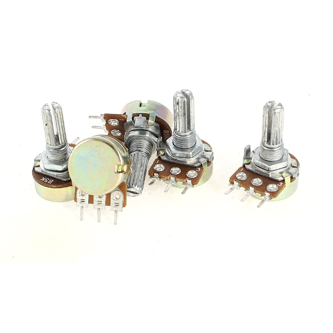 5 Pcs Top Adjustment Single Linear Knurled Shaft Pots Potentiometers 5K Ohm B5K