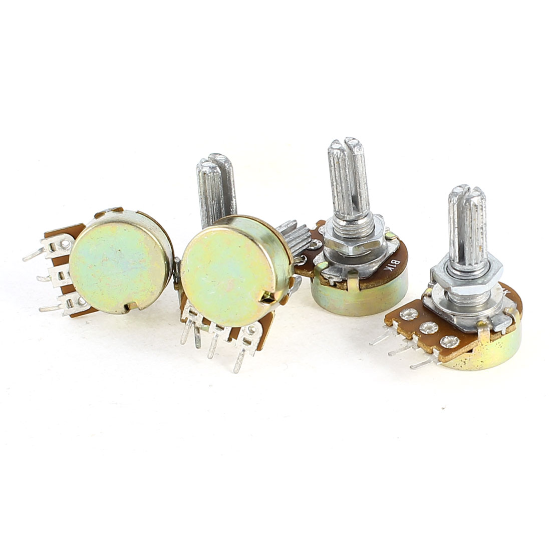 5 Pieces B1K 1K Ohm Metal Rotating Shaft Single Linea Rotary Taper Potentiometer