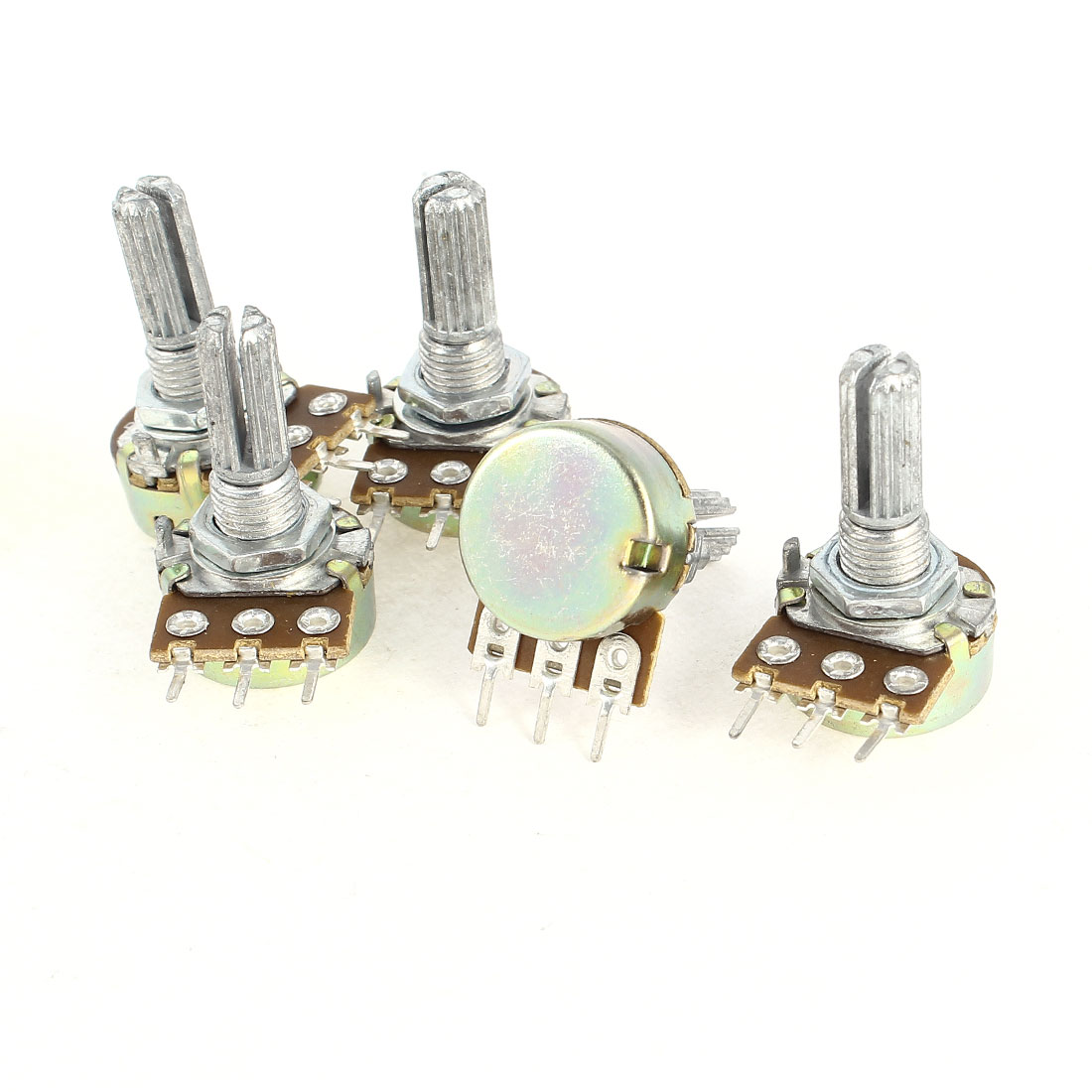 5 Pieces B250K 250K Ohm Rotating Shaft Single Linear Rotary Taper Potentiometers