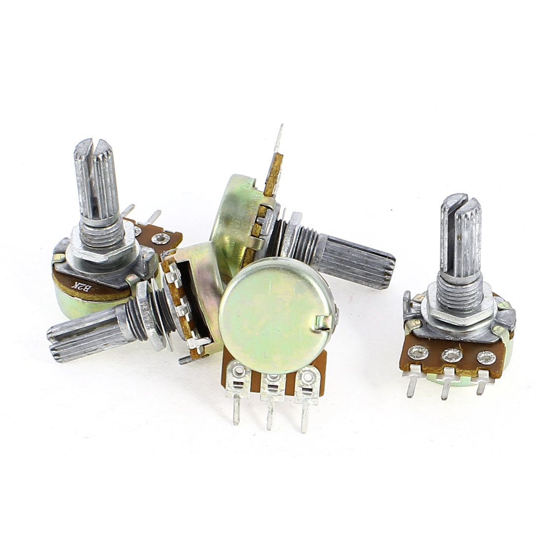 5 Pcs B2K 2K Ohm 3 Pin Terminals Single Linear Rotary Taper Potentiometers