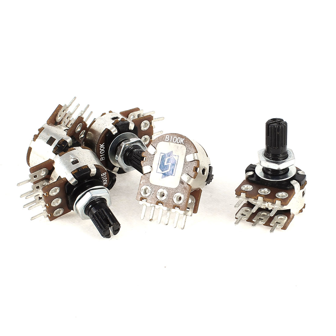 5 Pieces Type B 100K Ohm 6 Terminals Dual Linear Rotary Taper Potentiometers