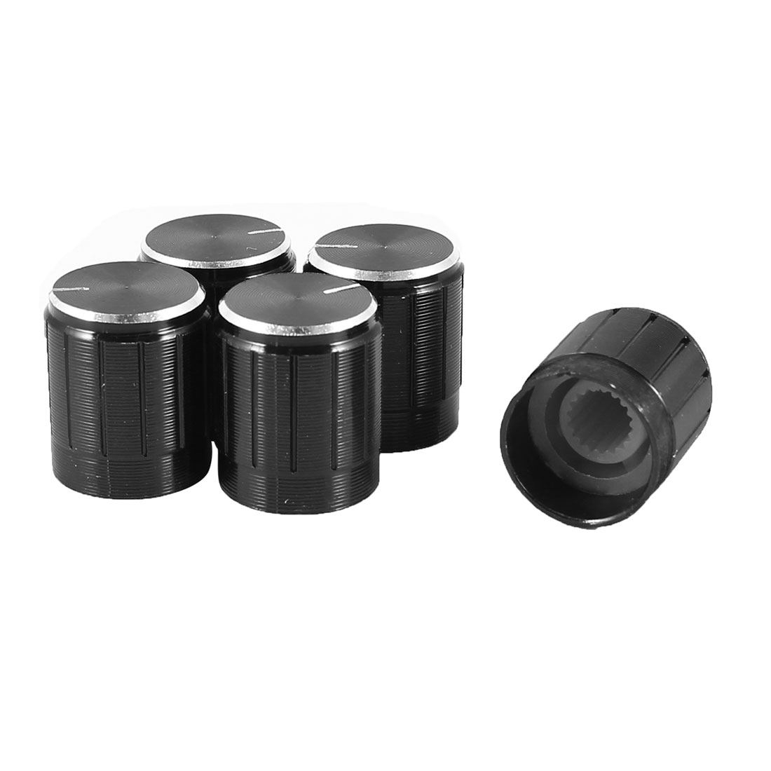 5 Pcs 6mm Hole Diameter Potentiometer Knob Cover Cap 15mmx17mm Black