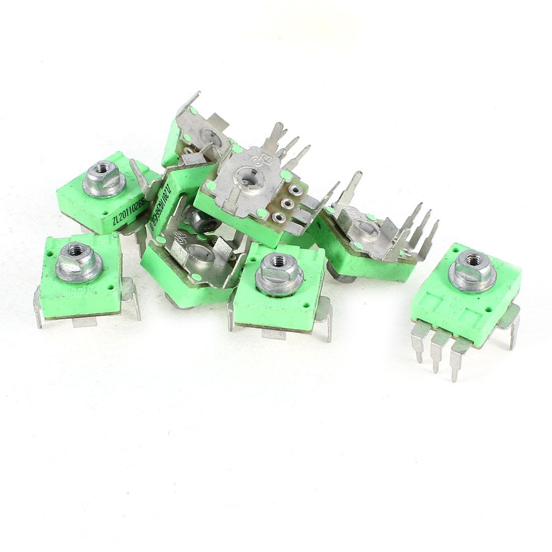 10 x Plastic Base 3 Terminals 100K Ohm PCB Mount Trimmer Potentiometer Resistors