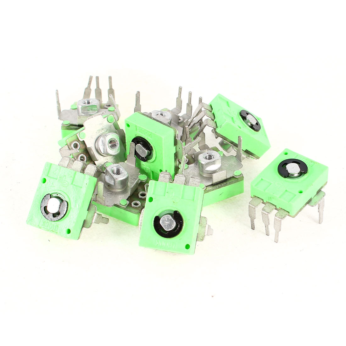 10 Pcs Green Base 3 Terminals 100K Ohm PCB Mount Trimmer Potentiometer Resistors