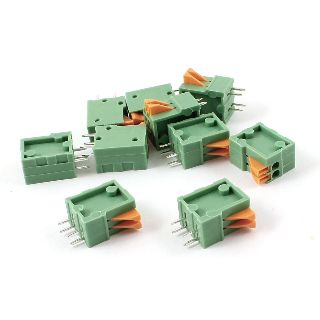 10pcs Straight 2 Positions 2.54mm PCB Board Screwless Spring Terminal Blocks