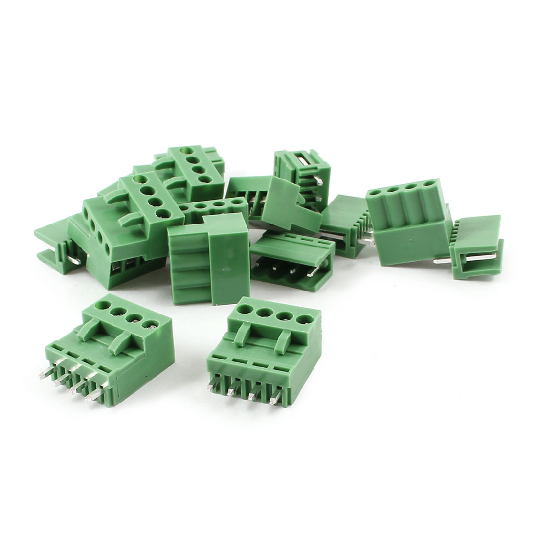 10 Set Green 4 Pin 3.96mm Single Row Screw Terminal Block Straight Connector 300V 10A