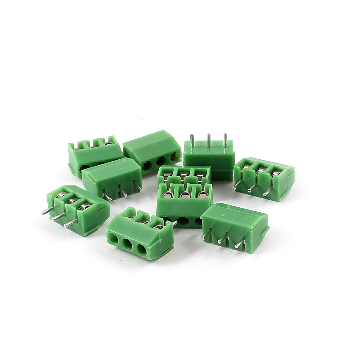10 Pieces 3Pin 3.96mm Spacing 300V 10A PCB Mount Type Terminal Block Green