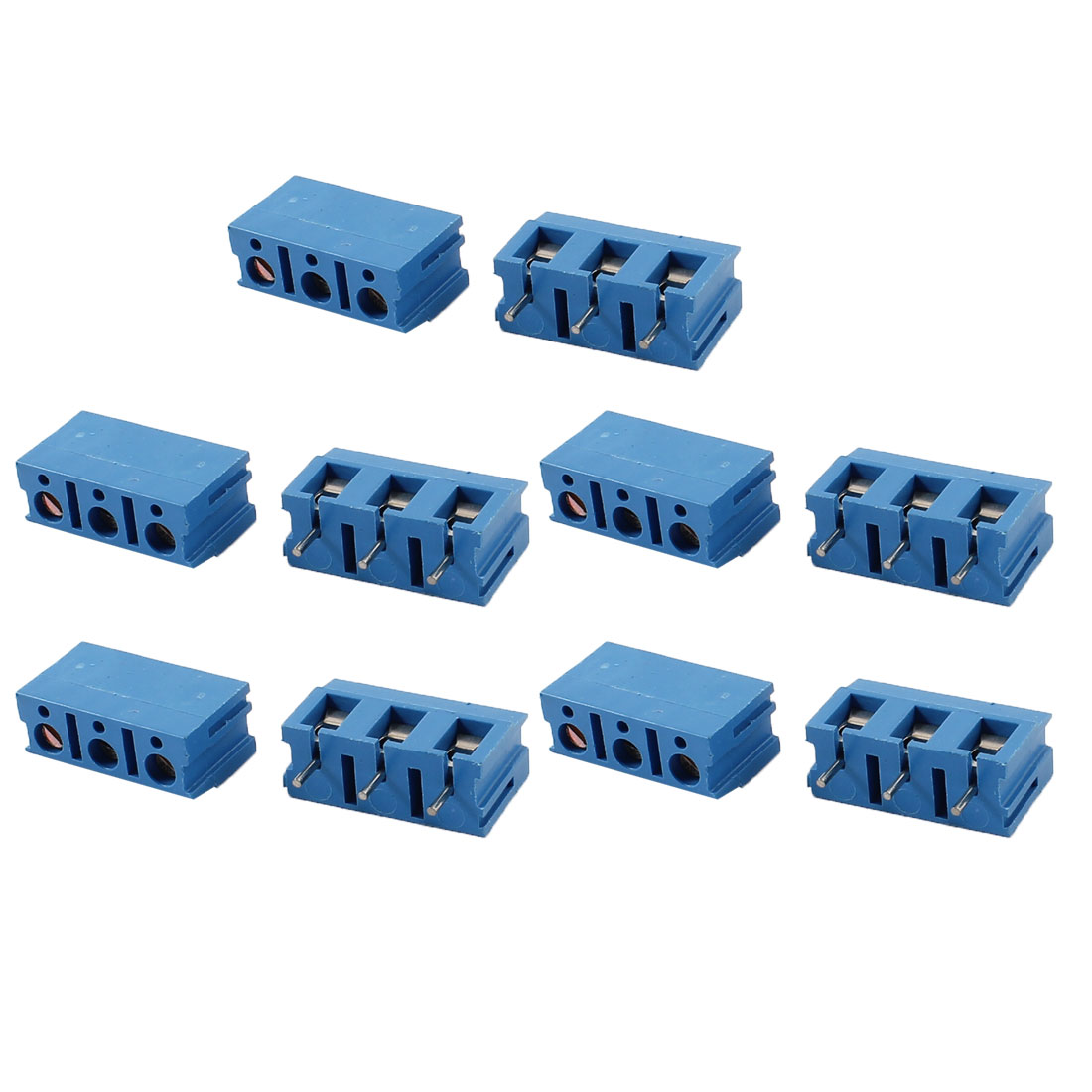 10 Pcs Straight 3 Pins 7.5mm Spacing PCB Board Screw Terminal Blocks