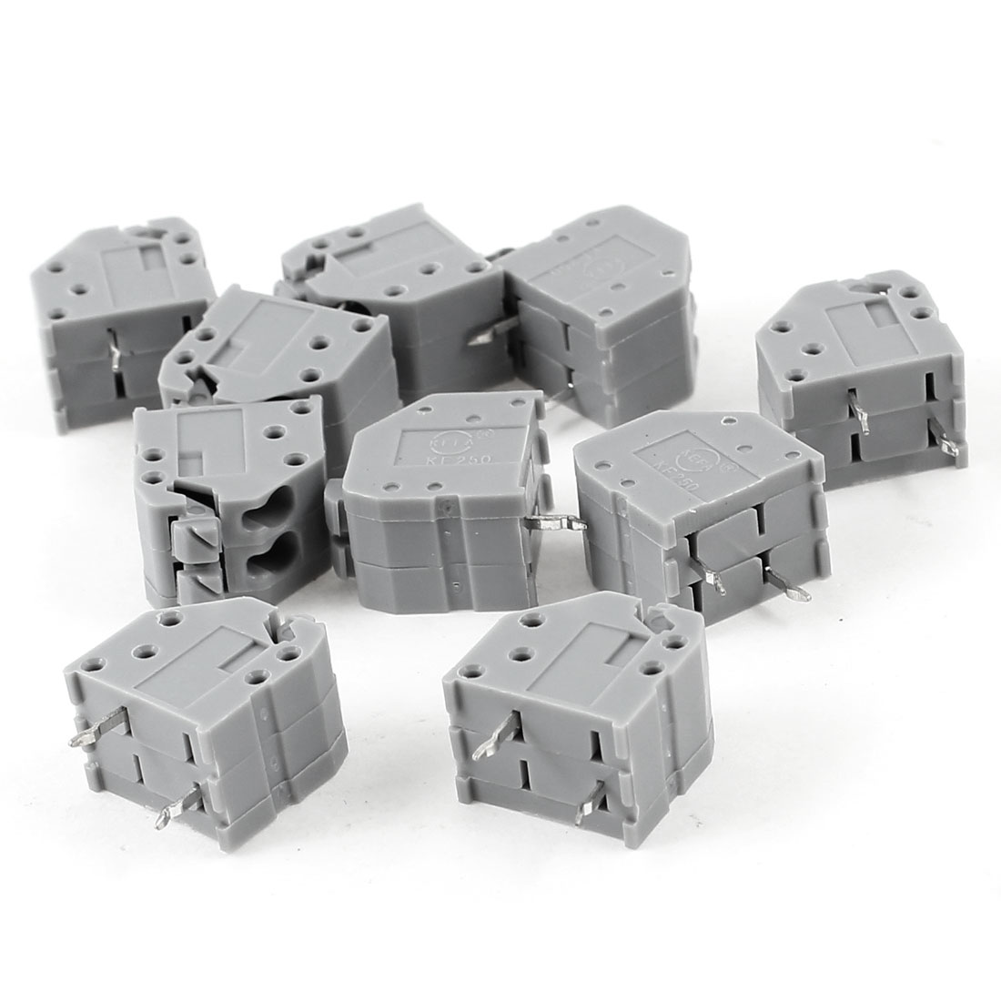 10pcs Straight 3.5mm Pitch Spacing PCB Board Mount Type Screwless Spring Terminal Blocks Connectors Gray AC 400V 2A