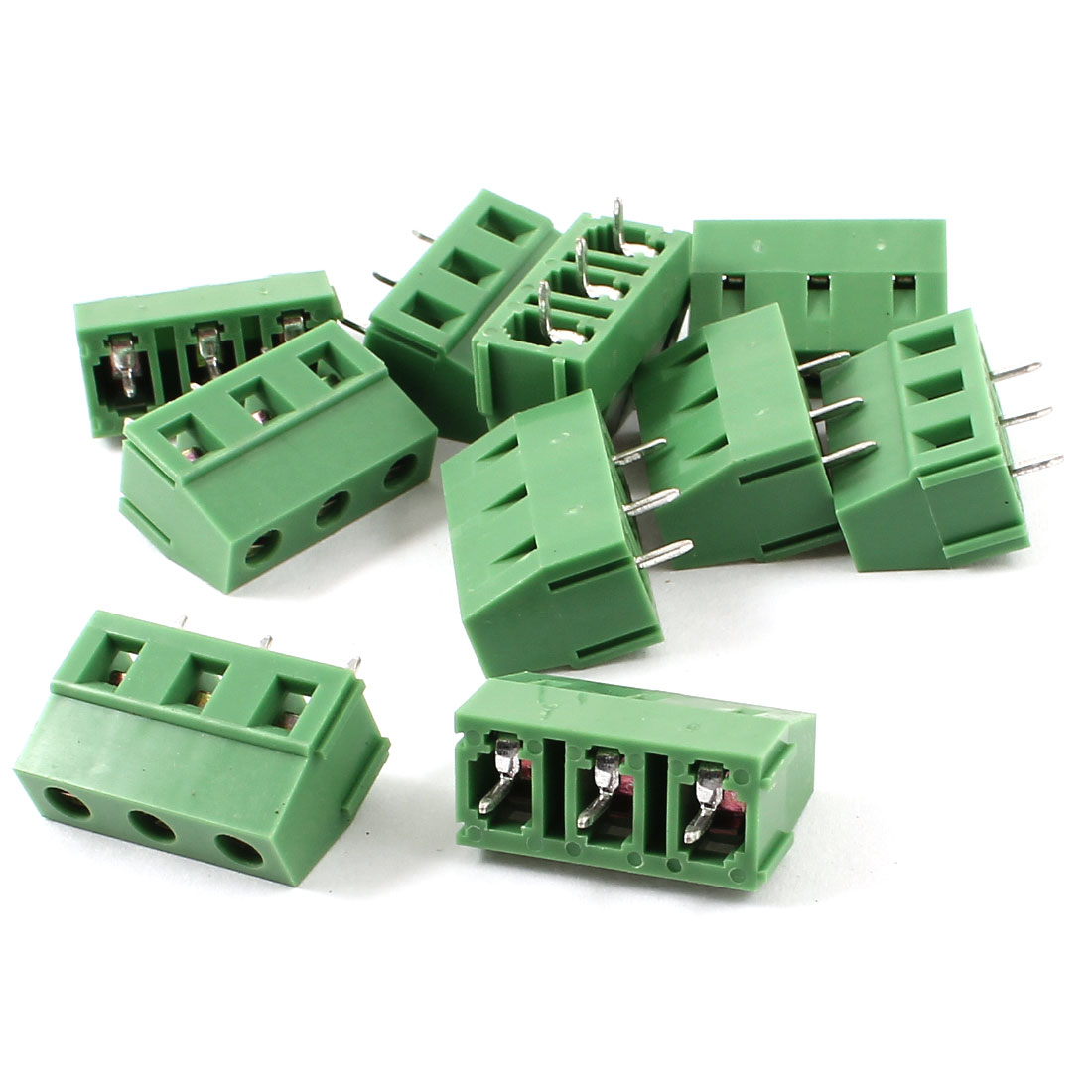 10 Pieces 3Pin 7.5mm Spacing 300V 10A PCB Mount Type Terminal Block Green