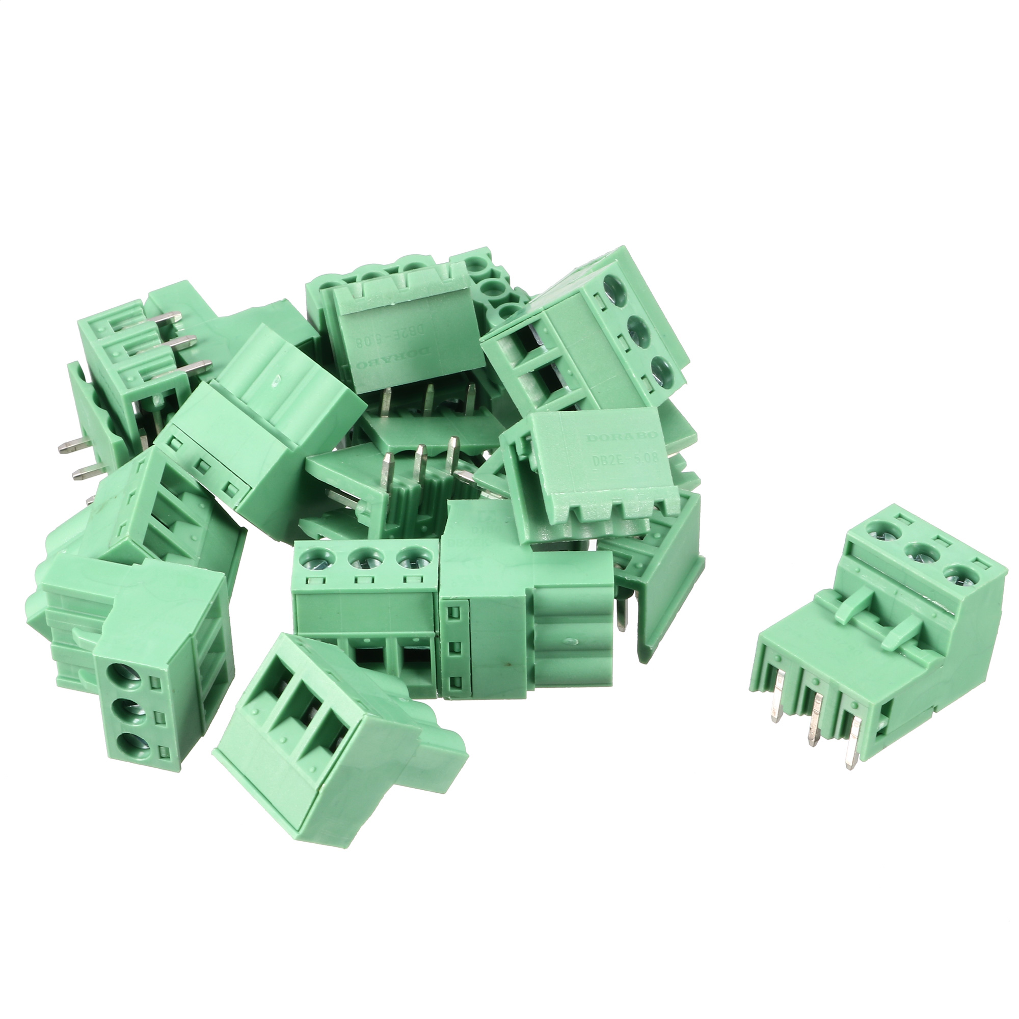 10 Set AC 300V 10A 5.08mm Spacing 3P Screw Pluggable Terminal Block Green