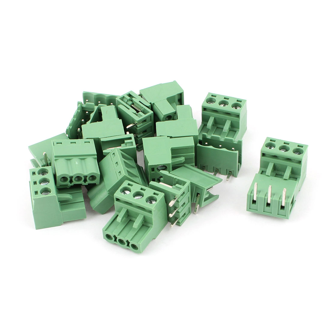 10 Pairs AC 300V 10A 5.08mm Spacing 3P Screw Pluggable Terminal Block Green