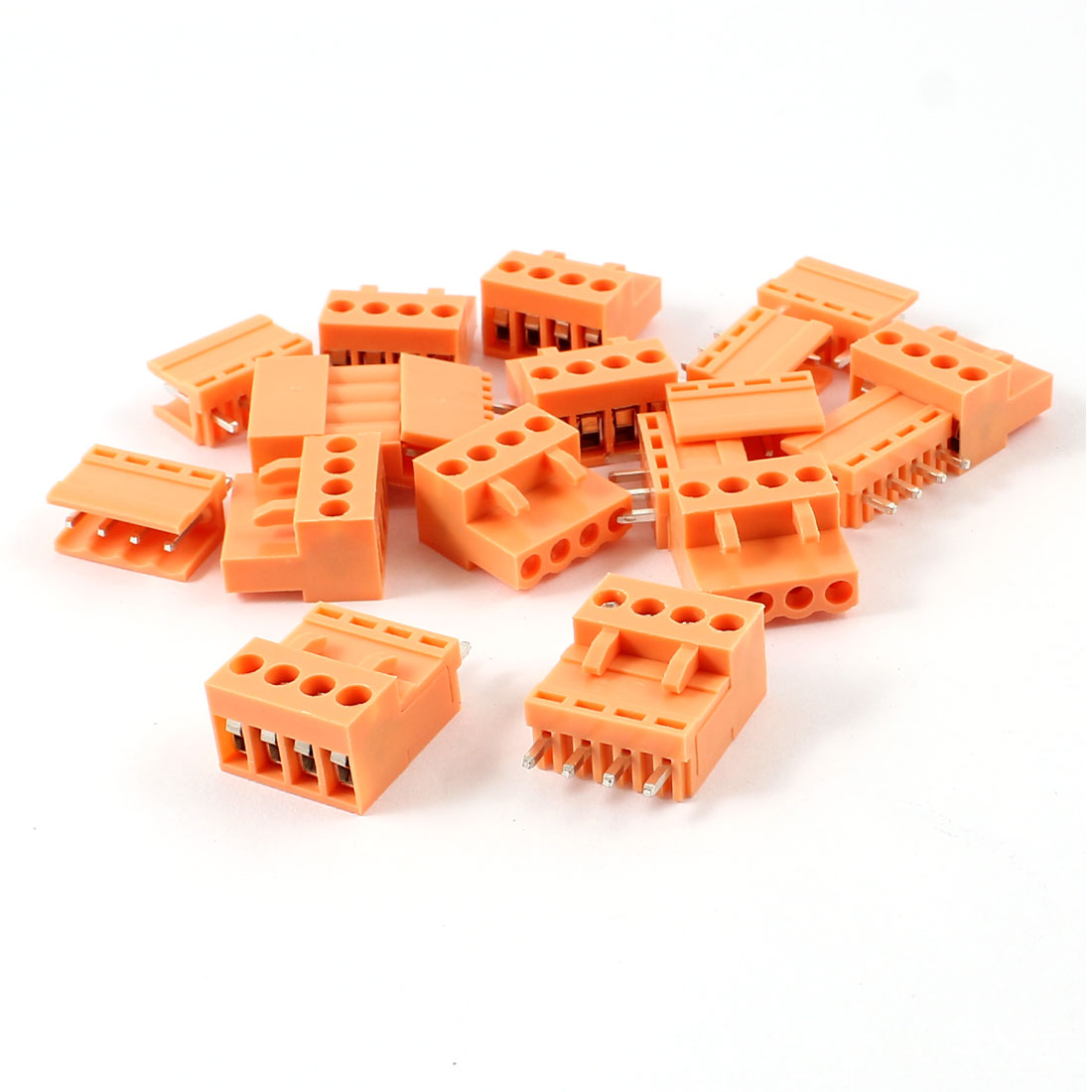 10 Set 300V 10A Single Row 4 Positions 3.96mm Straight Pluggable Terminal Block