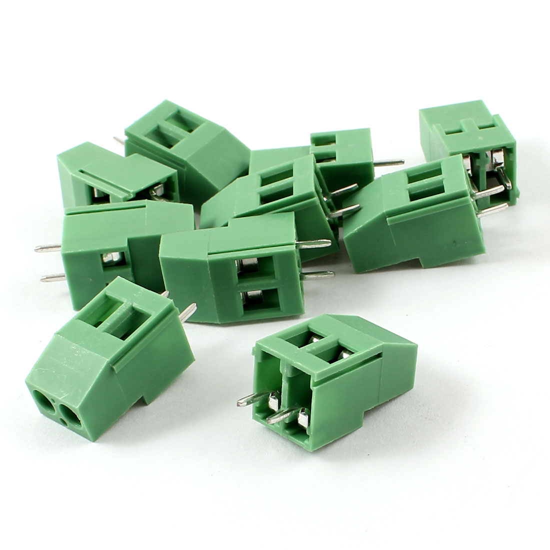 10pcs Straight 5mm Pitch PCB Board Screw Terminal Blocks Green