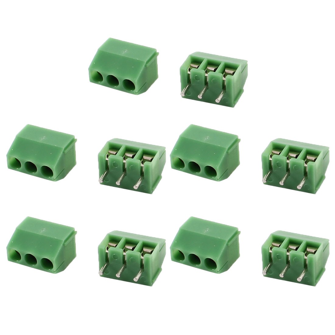 10 Pcs Straight 3 Pins 3.5mm Spacing PCB Board Screw Terminal Blocks Green