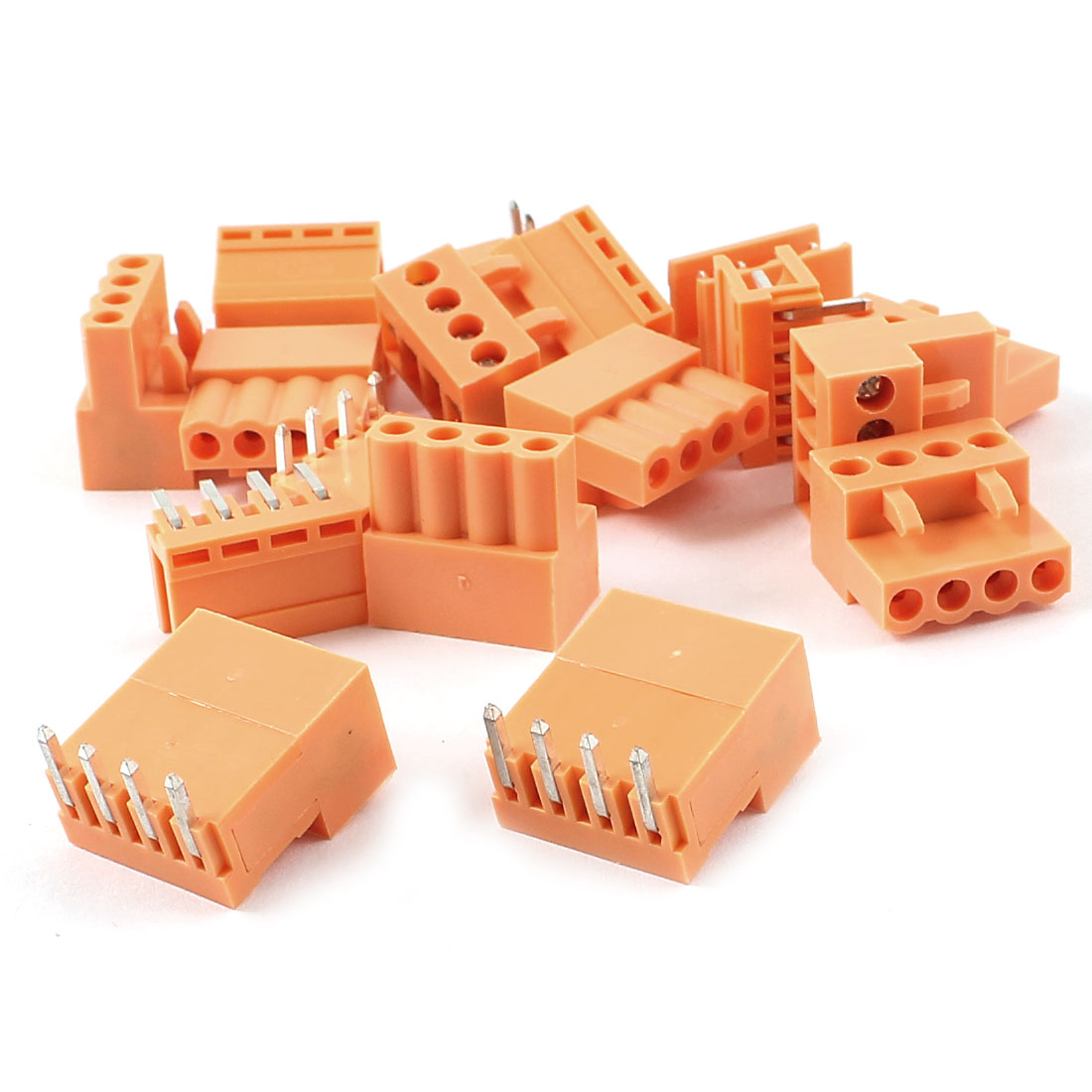 10 Set Orange 4 Pin 3.96mm Screw Pluggable Terminal Block Connector 300V 10A