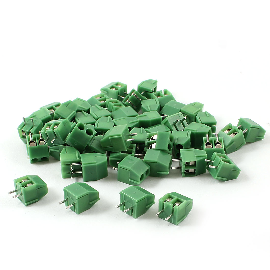 50pcs Straight 3.5mm Pitch Spacing PCB Board Mount Type Screw Terminal Blocks Connectors Green