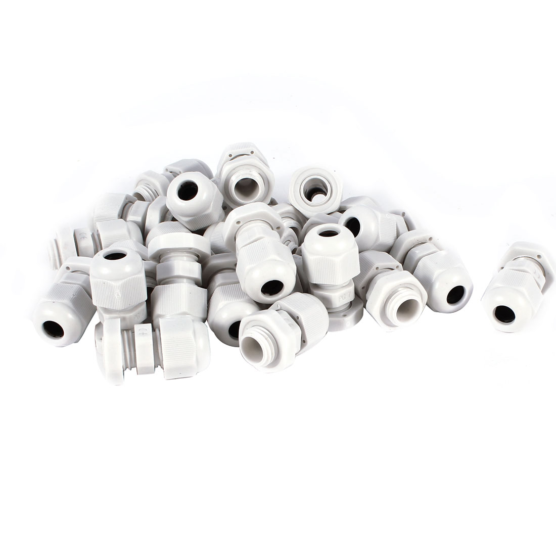 25 Pcs PG7 Waterproof Connector 12mm Threaded 3.5-6mm Cable Stuffing Joint Gland Off White