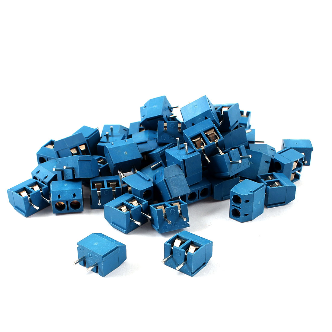 50 Pcs 5mm Spacing PCB Mount Screw Terminal Blocks Blue 300V 16A