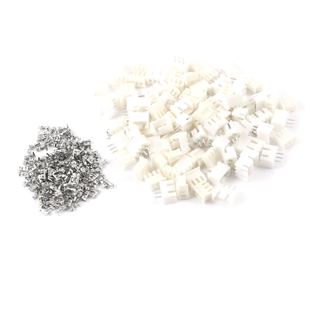 50 Pairs AC 220V 1A 3 Pins PCB Mount Block Terminal Connectors White