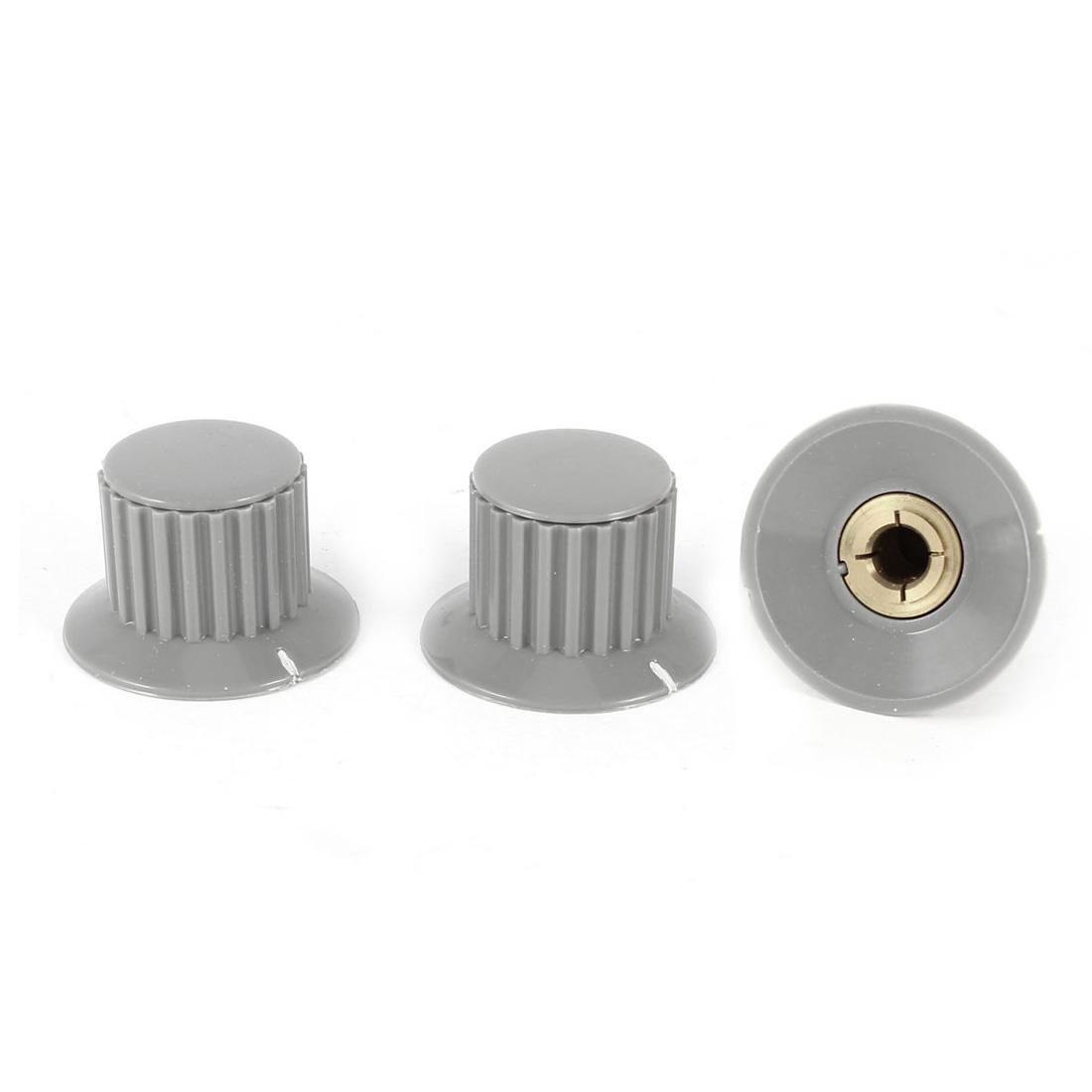 3 Pcs 6mm Hole Diameter Potentiometer Knob Cover Cap 32mmx20mm Gray KDJ32-20-6J