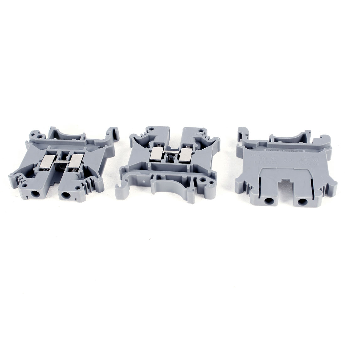 3 Pieces 800V 41A UK5-N 28-10AWG Screw Contact Terminal Block Connector Gray
