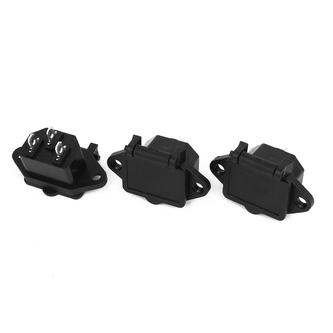 AC 250V 10A 3P IEC320 C14 Power Socket Black 3pcs w Cover