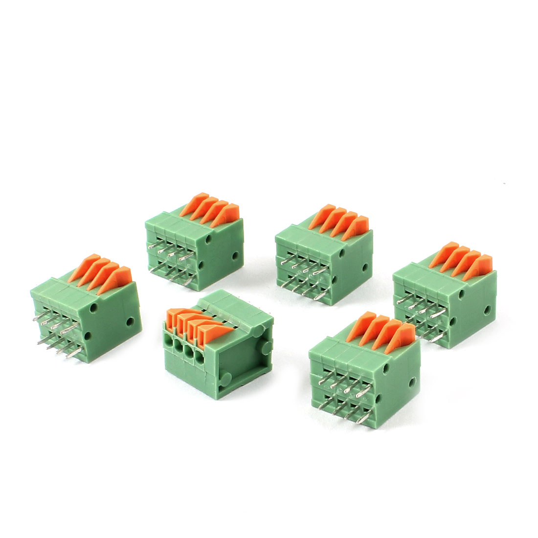 6 Pieces 4-Way 2.54mm Pitch 150V 2A PCB Mount Type Spring Terminal Block