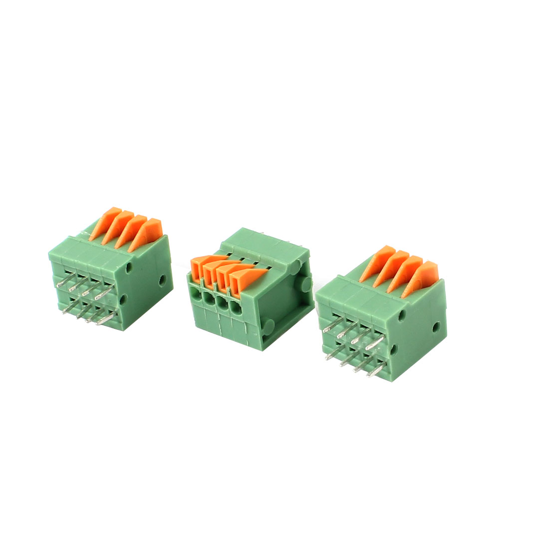 3 Pcs 2.54mm 4 Positions PCB Mount Screwless Spring Terminal Blocks 150V 2A