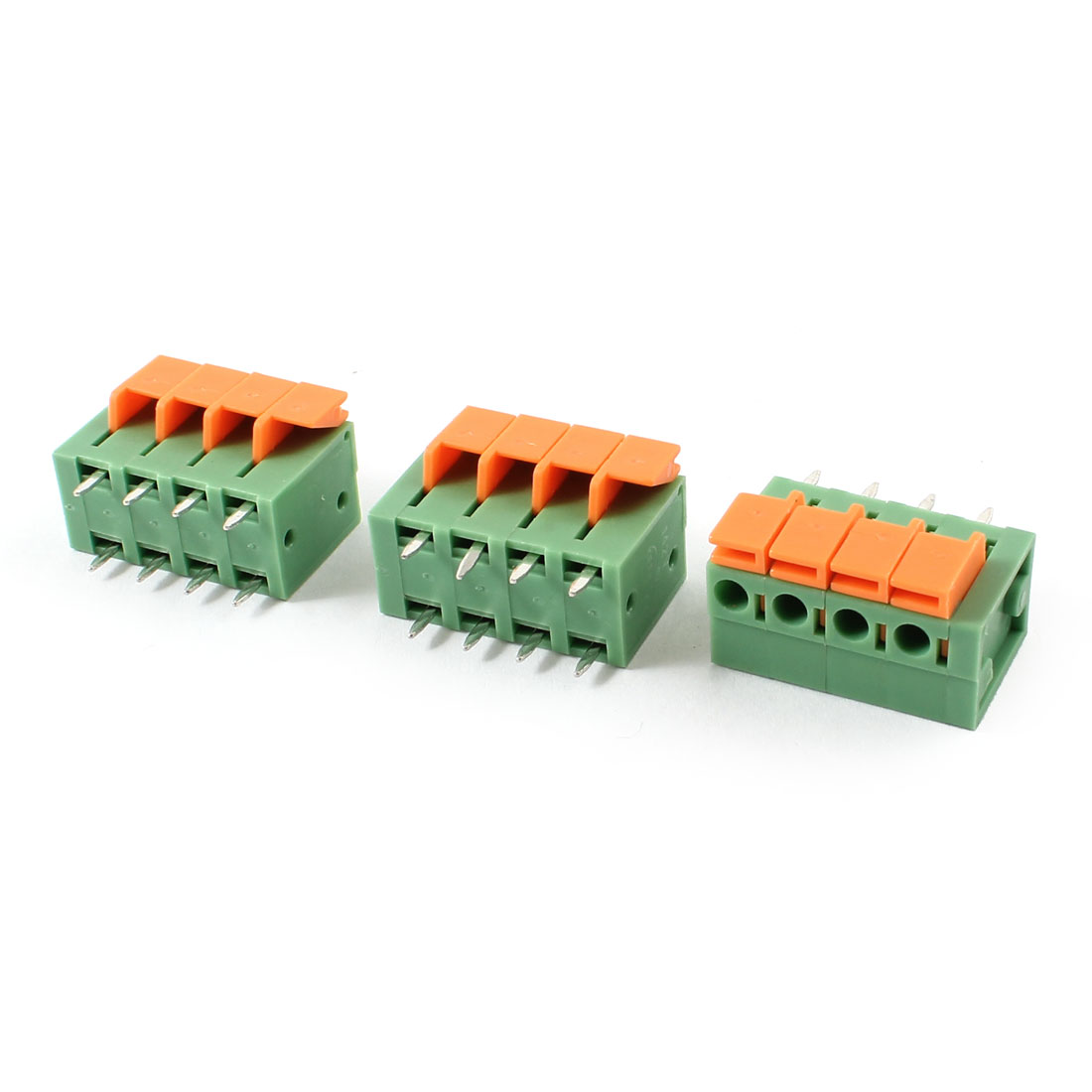 3pcs 5.08mm 4 Positions PCB Mount Screwless Spring Terminal Blocks 142V 2A