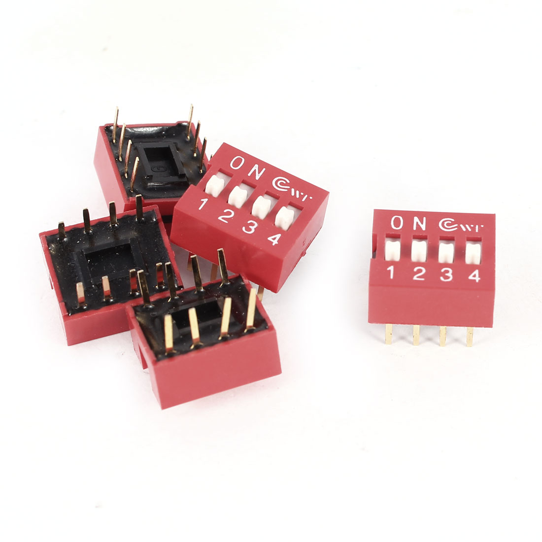 5 Pcs DIP Red 2.54mm Pitch 8 Pins 4 Positions Ways PCB Mount Slide Type Switch