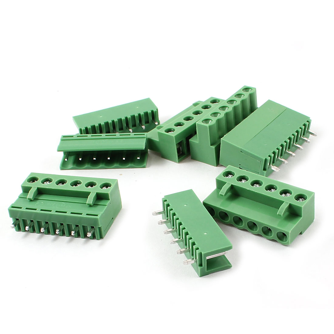 5 Set 6 Pin 5.08mm Screw Pluggable Terminal Block Connector Green 300V 10A