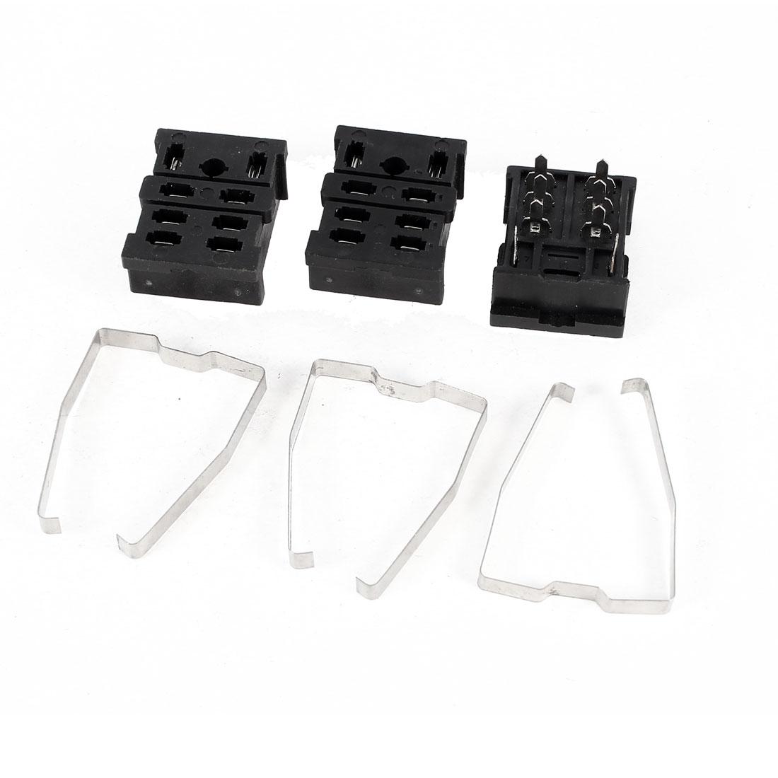 3 Pcs PCB Board Mounted Soldering 8 Pin Voltage Relay Socket Base Holder 10A 300V Black