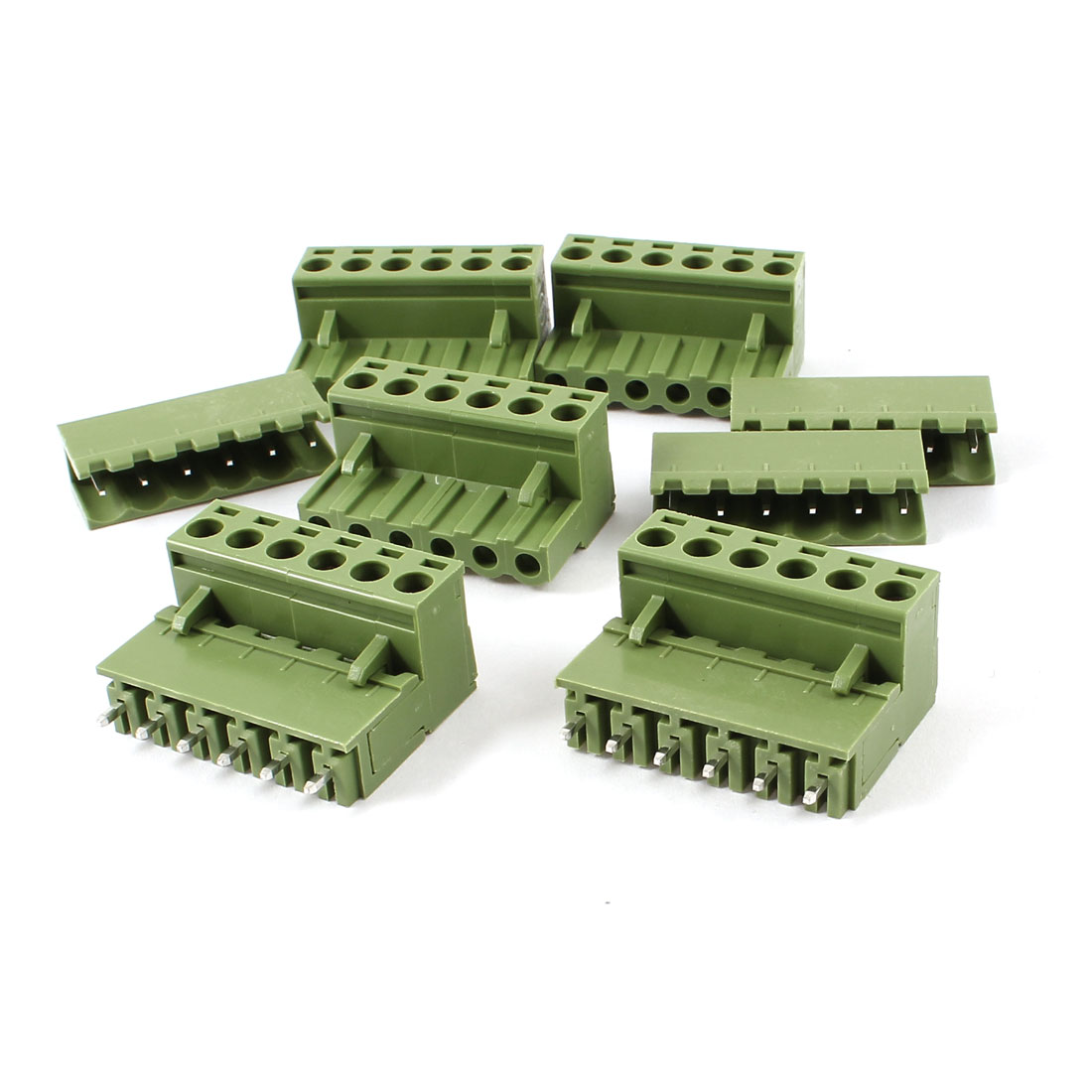 5 Set Single Row 6 Positions 5.08mm Straight Pluggable Terminal Block Green