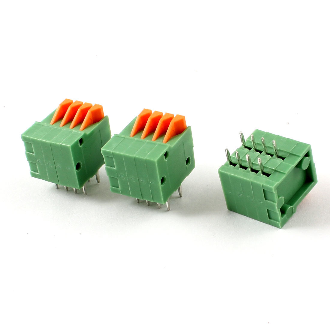 3pcs 2.54mm 4 Positions PCB Mount Screwless Spring Terminal Blocks 150V 2A