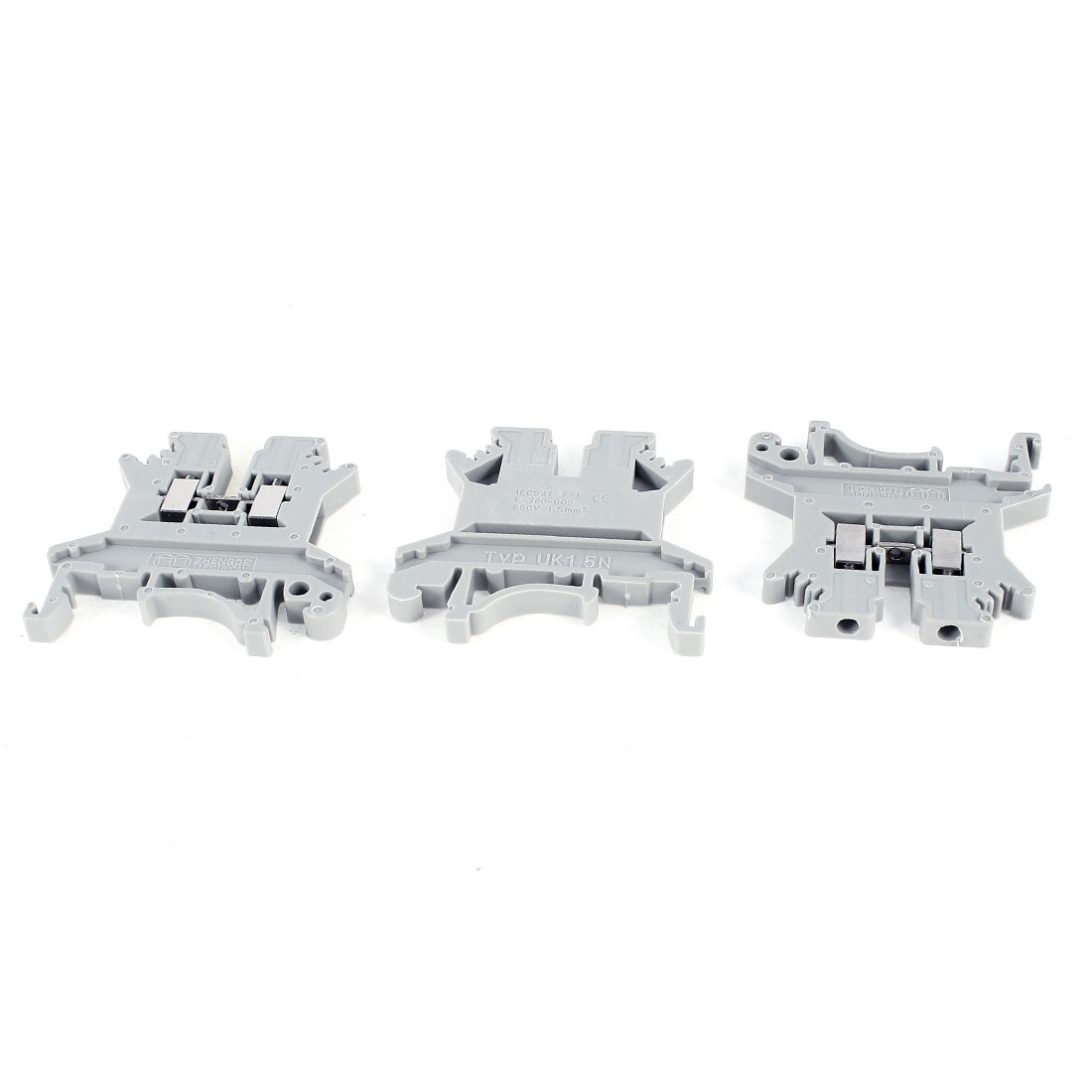 3 Pieces 890V UK1.5N Gray Plastic Shell Screw Contact Terminal Block Connector