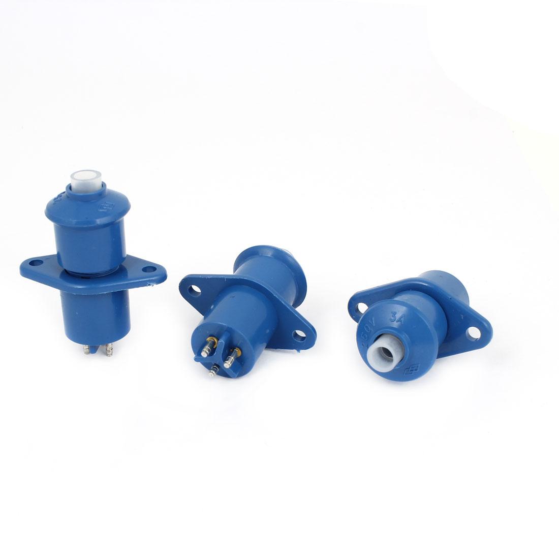 AC 250V 3A Blue 3P Male Female Power Socket Connector 3pcs