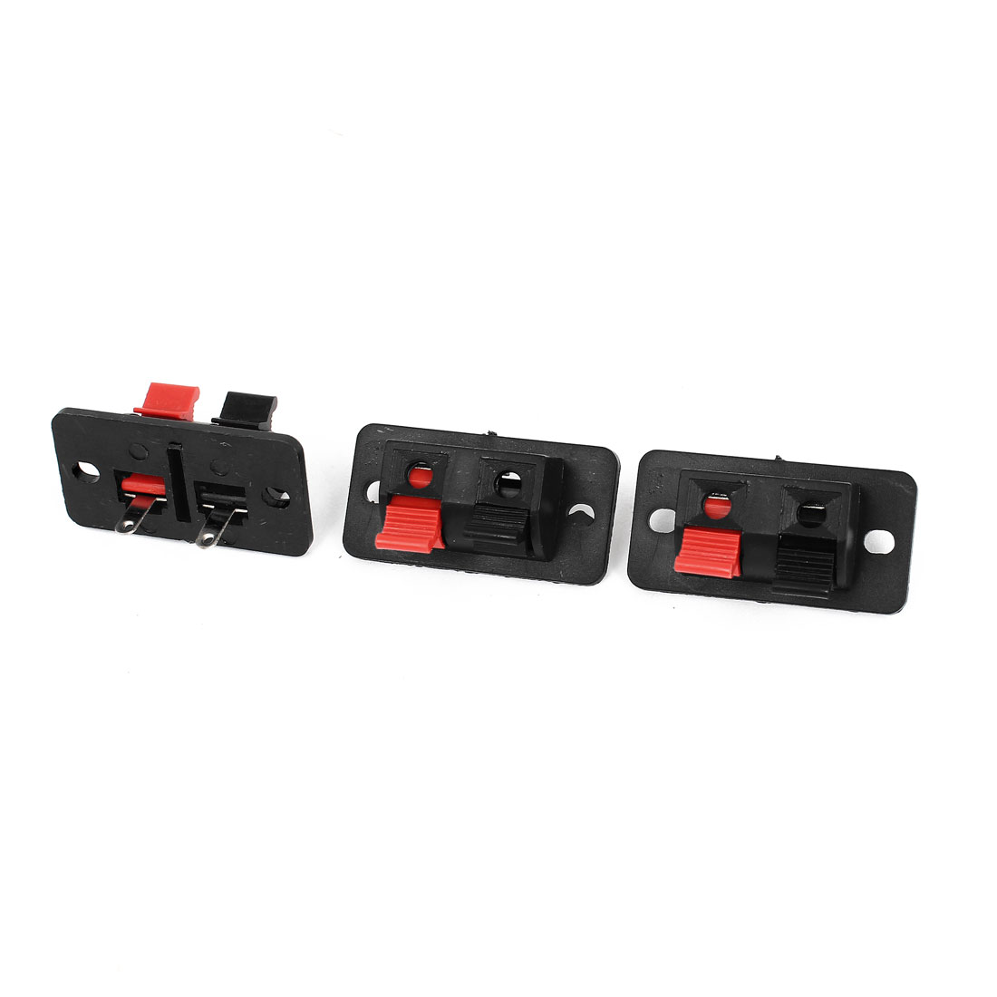 3pcs Spring Loaded Push In Type 2 Positions Speaker Terminal Connector Black Red
