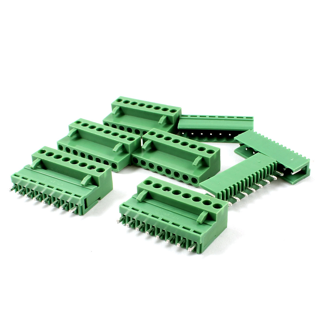 5 Pairs 8 Pin 3.96mm Screw Pluggable Terminal Block Connector Green 300V 10A