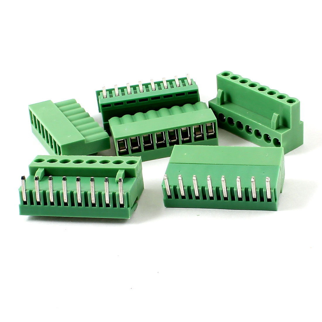 5 Pairs 8 Pin 3.96mm Screw Pluggable Terminal Block Connector 300V 10A Green