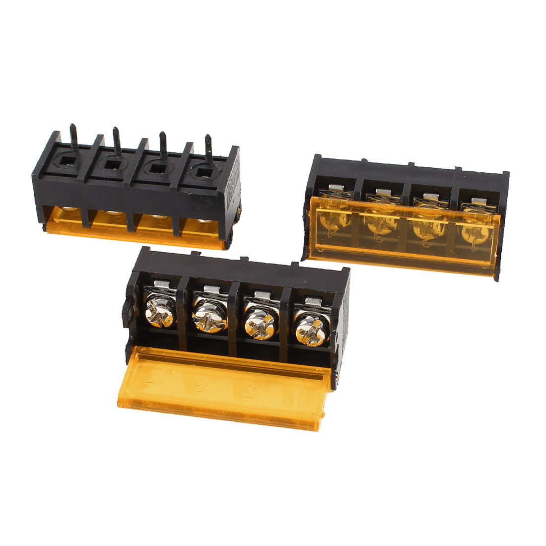 3 Pcs HB9500-4P 4P 9.5mm Pitch Wire Connector Screw Terminal Barrier Blocks 300V 30A w Cover