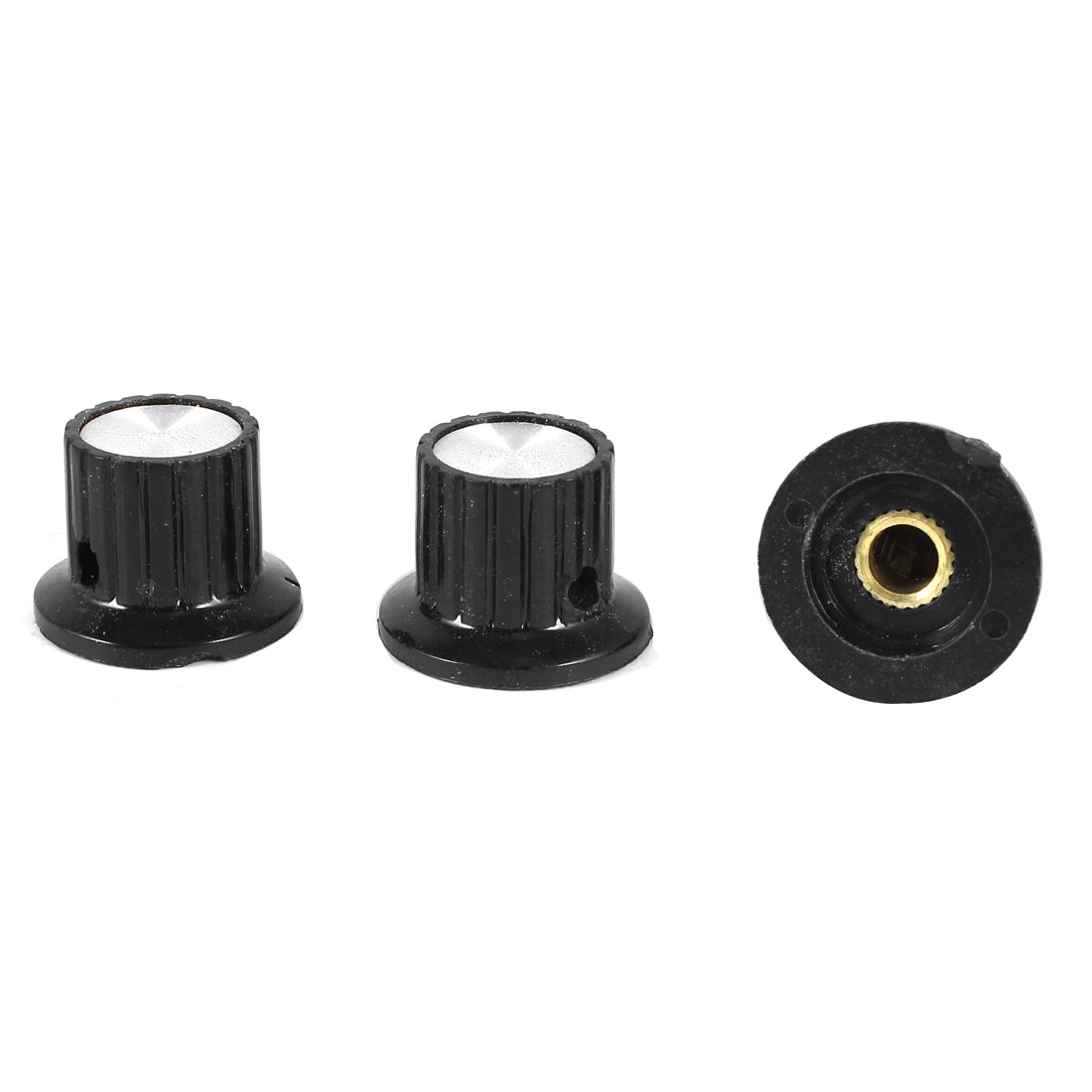 3 Pcs 6mm Hole Diameter Potentiometer Knob Cover Cap 25mmx18mm Black KYP25-18-6J