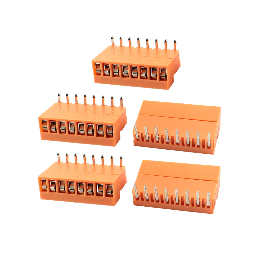 5 Set Single Row 8 Positions 3.96mm Right Angle Pluggable Terminal Block Orange