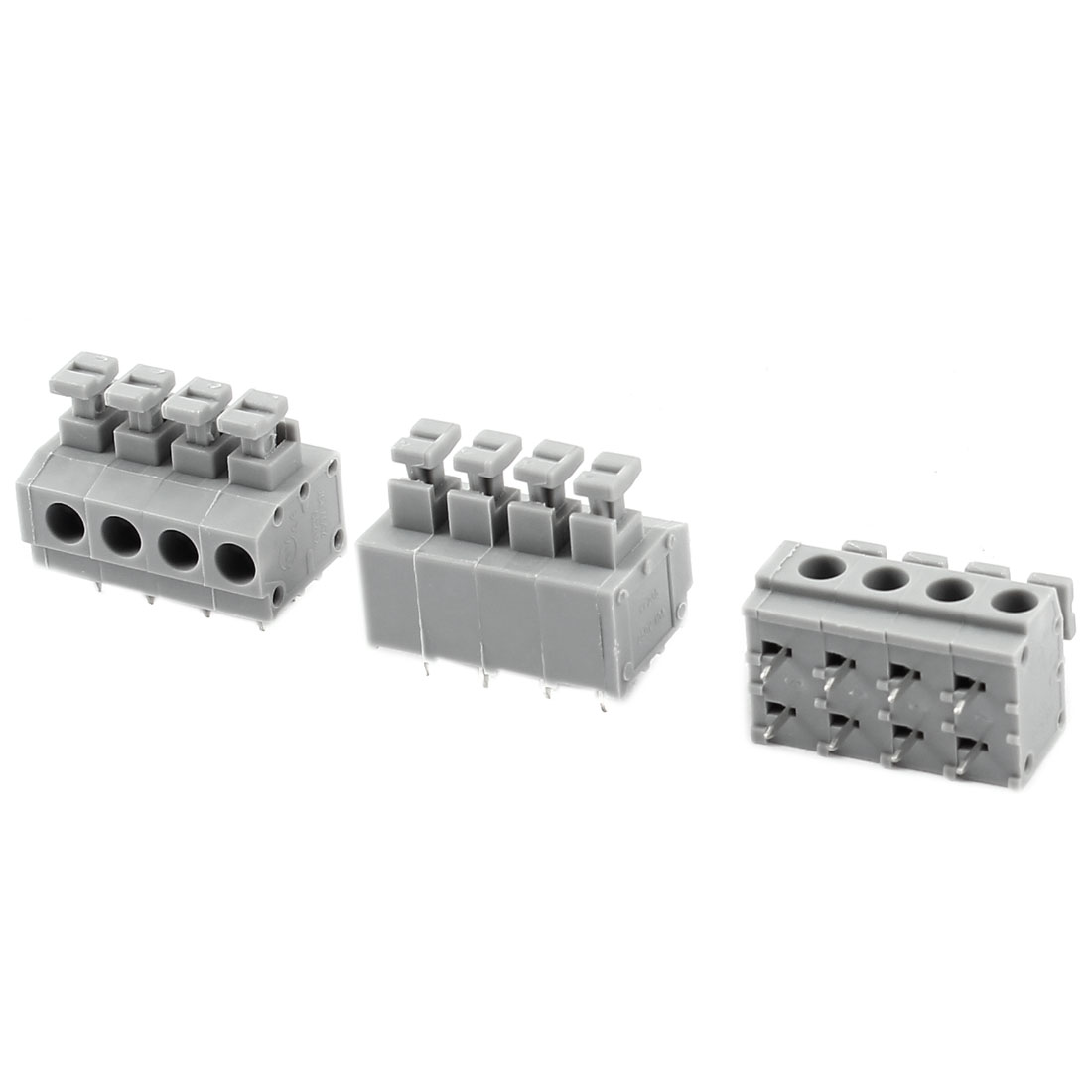 3pcs Straight 4 Positions 5.0mm PCB Board Screwless Spring Terminal Blocks Gray